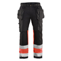 1558 Blaklader High-Vis Trousers with Stretch Black/Red W32-L29