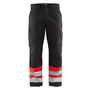 1564 Blaklader High-Vis Trousers without Nail Pockets Red/Black W42-L33