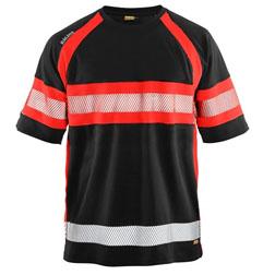3337 Blaklader UV T-shirt High vis Black/Red XS